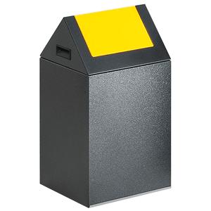 Wertstoff-Sammelgerät mit Schwingdeckel, Stahl, Gelb, 60 cm Höhe
