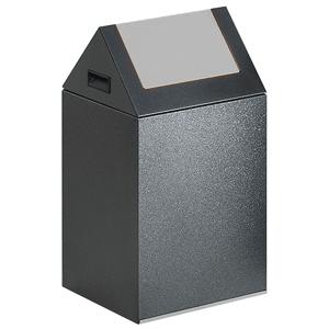 Wertstoff-Sammelgerät mit Schwingdeckel, Stahl, Silber, 60 cm Höhe