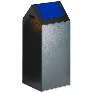 Wertstoff-Sammelgerät mit Schwingdeckel, Stahl, Blau, 80 cm Höhe