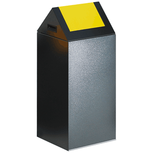 Wertstoff-Sammelgerät mit Schwingdeckel, Stahl, Gelb, 80 cm Höhe