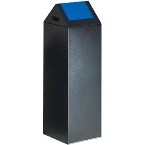 Wertstoff-Sammelgerät mit Schwingdeckel, Stahl, Blau, 104,5 cm Höhe