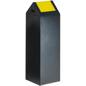Wertstoff-Sammelgerät mit Schwingdeckel, Stahl, Gelb, 104,5 cm Höhe