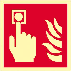 Brandmelder, Folie, nachleucht., 160-mcd, 14,8x14,8 cm