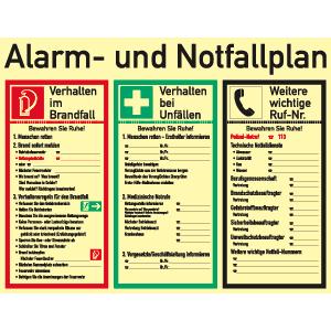 Alarm- und Notfallplan, Kunststoff, nachleucht., 52-mcd, 48x62 cm