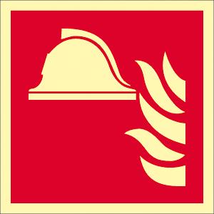 Mittel u. Geräte zur Brandbekämpfung, Folie, nachleucht., 14,8x14,8 cm