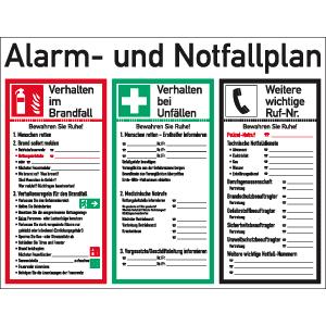 Alarm- und Notfallplan ISO 7010, Kunststoff, 48x62 cm
