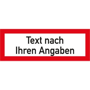 Brandschutzzeichen - Text nach Ihren Angaben, Alu, 5,2x14,8 cm