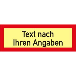 Brandschutzzeichen - Text nach Ihren Angaben, Alu, nachleucht., 7,4x21 cm