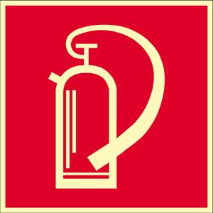Feuerlöscher, Alu, nachleucht., 160-mcd, 20x20 cm