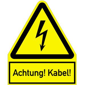 Achtung! Kabel!, Kombischild, Kunststoff, 24,4x20 cm