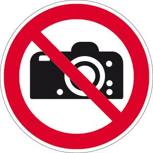 Fotografieren verboten ISO 7010, Alu, Ø 31,5 cm