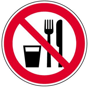 Essen und Trinken verboten BGV A8, Folie, Ø 2 cm, 10 Stück
