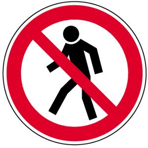 Für Fußgänger verboten BGV A8, Folie, Ø 20 cm