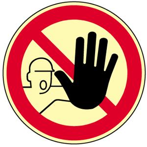 Zutritt für Unbefugte verboten DIN 4844-2, Folie, nachleucht., 160-mcd, Ø 20 cm