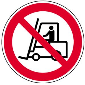 Für Flurförderzeuge verboten BGV A8, Alu, Ø 31,5 cm
