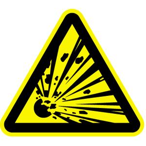 Warnung vor explosionsgefährlichen Stoffen, Kunststoff, reflekt., 40 cm SL