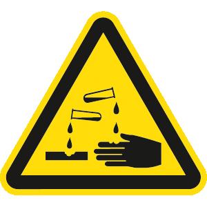 Warnung vor ätzenden Stoffen BGV A8, Alu, 20 cm SL
