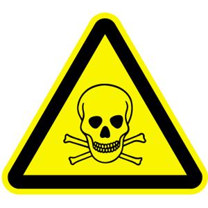 Warnung vor giftigen Stoffen BGV A8, Folie, 3 cm SL, 6 Stück