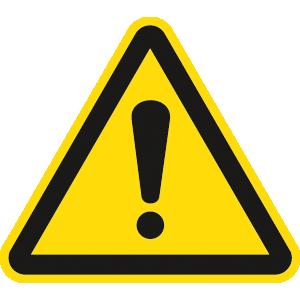 Allgemeines Warnzeichen ISO 7010, Folie, 2 cm SL, 12 Stück