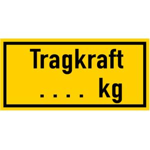 Tragkraft ... Kg mit Zahl nach Wunsch, Kunststoff, 12x25 cm