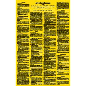 Arbeitszeitgesetz (ArbZG), Aluminium, 63x40 cm