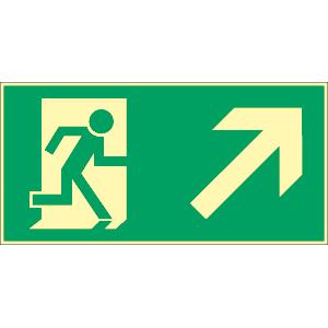 Rettungsweg rechts, Treppe aufwärts ASR, Alu, nachleucht., 160-mcd, 20x40 cm