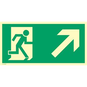 Rettungsweg rechts aufwärts, BGV A8 (E10+E02),Kunstst.,nachleucht., 14,8x29,7 cm