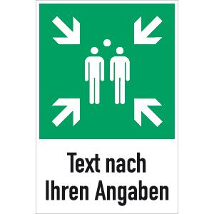 Sammelstelle mit Text nach Ihren Angaben ISO 7010, Alu, 60x40 cm
