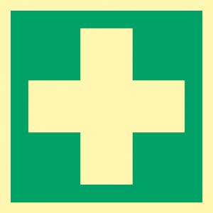 Erste Hilfe, ISO 7010, Alu, nachleucht., 14,8x14,8 cm