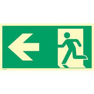 Rettungsweg links, ISO 7010, Kunststoff, nachleucht., 20x40 cm