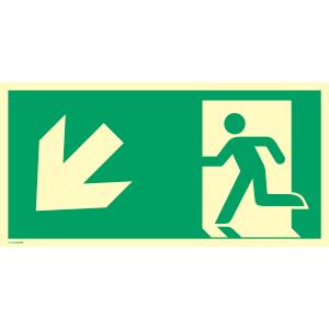 Rettungsweg links abwärts, ISO 7010, Kunststoff, nachl., 160-mcd, 14,8x29,7 cm