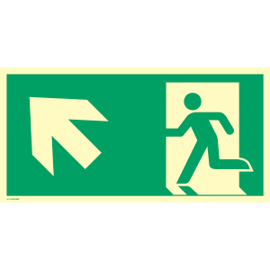 Rettungsweg links aufwärts, ISO 7010, Alu, nachleucht., 160-mcd, 14,8x29,7 cm