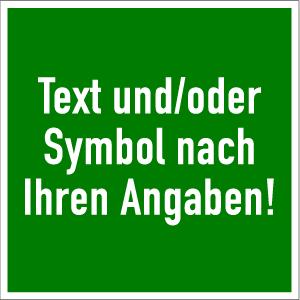 Rettungszeichen - Text nach Angabe, Folie, 20x20 cm