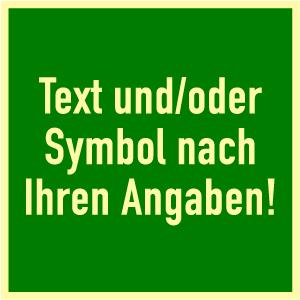 Rettungszeichen - Text nach Angabe, Kunststoff, nachleucht., 20x20 cm