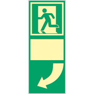 Türgriffhinterlegung links, ISO 7010, Kunststoff, nachleucht., 160-mcd, 25x10 cm