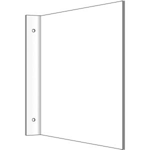 Fahnenschild blanko zur Wand- oder Deckenmontage, Kunststoff, 20x20 cm