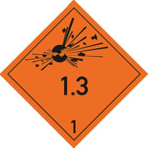 Gefahrzettel Klasse 1 - Unterklasse 1.3,Papier, 1000 Stück/Rolle, 10x10 cm