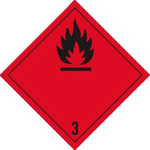 Gefahrzettel Klasse 3, Folie, 10x10 cm