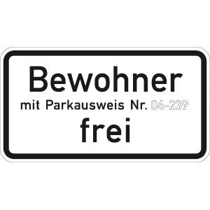 VZ1020-32, Bewohner mit Parkausweis Nr. ... frei, Alu, RA2, 41,2x75 cm