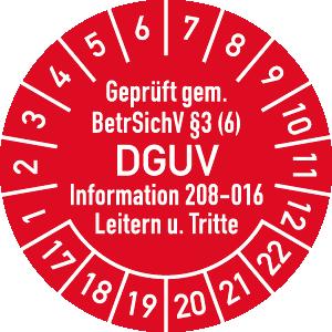 Prüfplakette Geprüft...BetrSichV ... DGUV, 2017 - 2022, Folie, Ø 3 cm