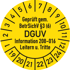 Prüfplakette Geprüft...BetrSichV ... DGUV, 2019 - 2024, Dokumentenfolie, Ø 3 cm