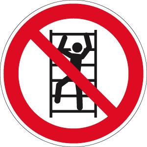 Aufsteigen verboten (Leiter) ISO 7010, Folie, Ø 10 cm