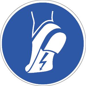 Antistatisches Schuhwerk benutzen ISO 7010, Folie, Ø 20 cm