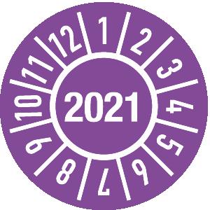Prüfplakette Jahr 2021 mit Monaten, Dokumentenfolie, Ø 1,5 cm
