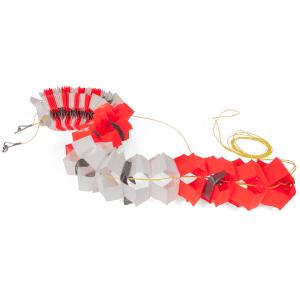 Absperr-Girlande rot-orange/weiß fluoreszierend, Kunststoff, ausziehbar bis 10 m