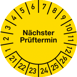 Prüfplakette Nächster Prüftermin 2021 - 2026, Folie,500 Stück auf Rolle, Ø 2,5cm