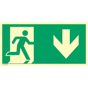 Notausgang rechts nach ISO 7010, Alu, nachleucht., 14,8x29,7 cm
