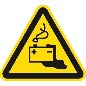 Warnung vor Gefahren durch Batterien ISO 7010, Folie, 5 cm SL