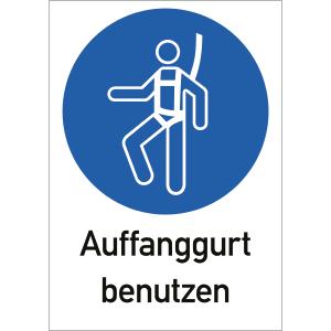 Auffanggurt benutzen, Kombischild, ISO 7010, Folie, 29,7x21 cm