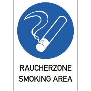 Raucherzone - Smoking Area, Kombischild, Folie, 29,7x21 cm